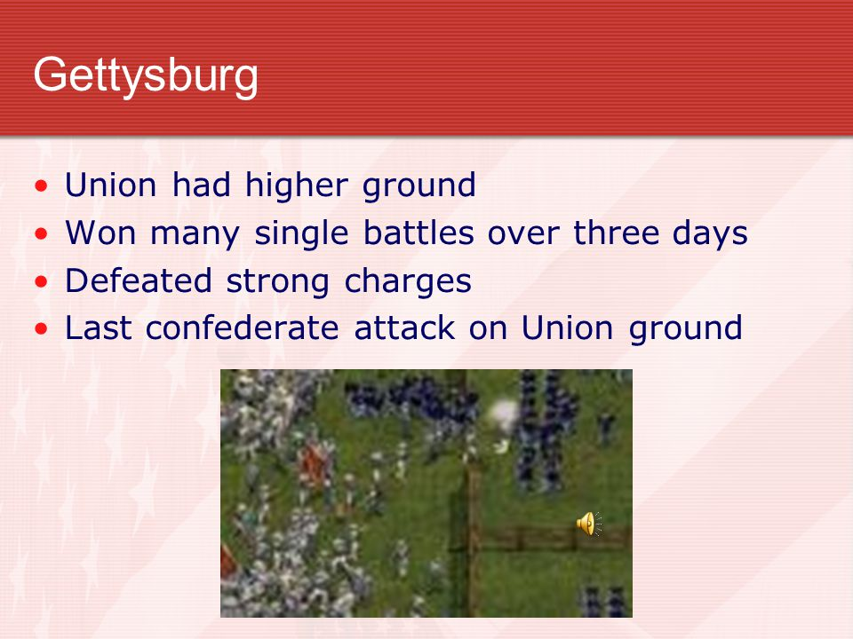 Turning Point in the War Battle of Gettysburg Began July 1, 1863 Other Battles won at same time Union Victories at two key sites
