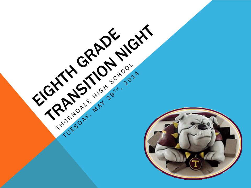 EIGHTH GRADE TRANSITION NIGHT THORNDALE HIGH SCHOOL TUESDAY, MAY 29 TH, 2014
