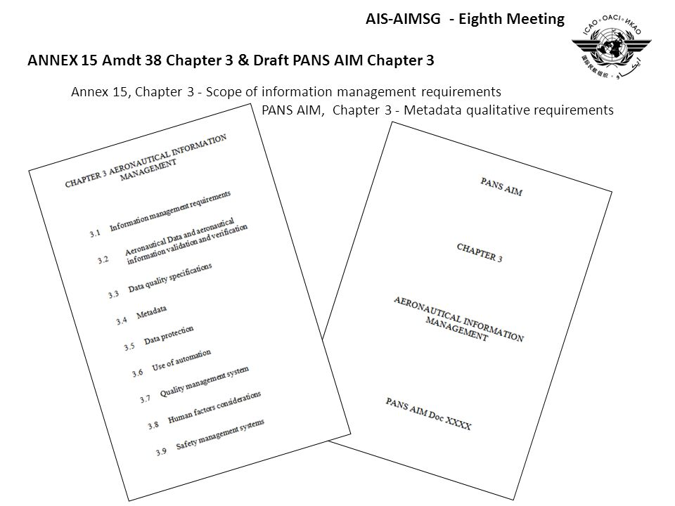 Annex 15, Chapter 3 - Scope of information management requirements PANS AIM, Chapter 3 - Metadata qualitative requirements AIS-AIMSG - Eighth Meeting ANNEX 15 Amdt 38 Chapter 3 & Draft PANS AIM Chapter 3