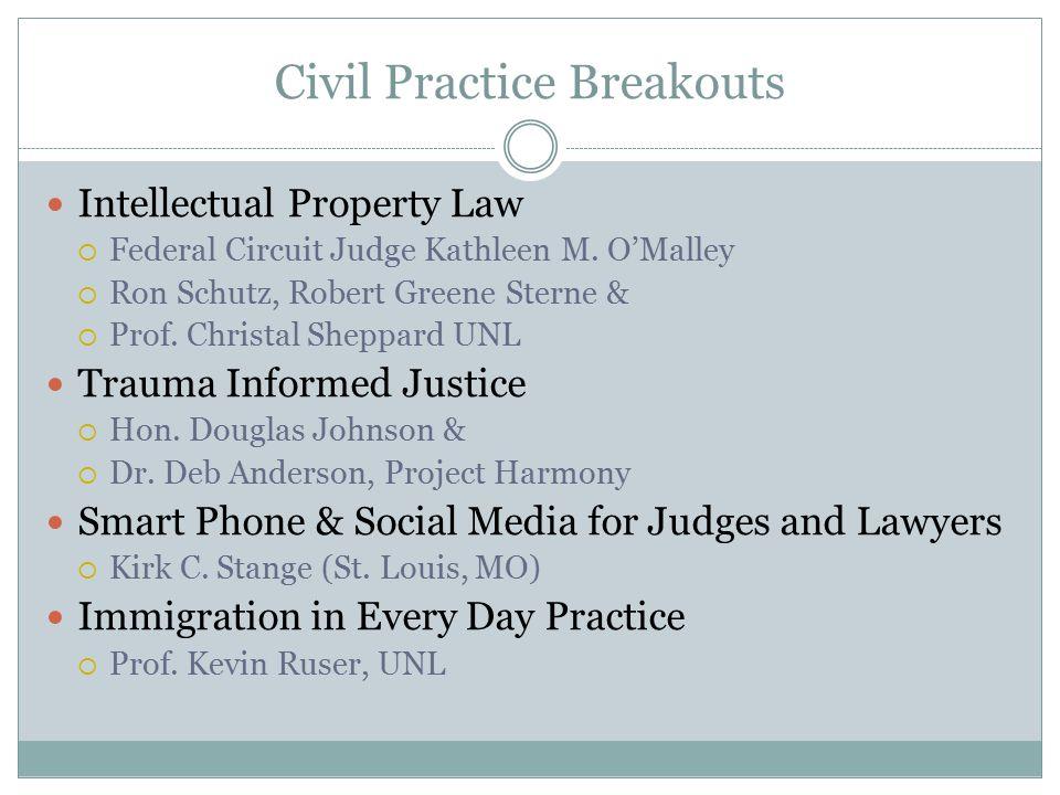 Civil Practice Breakouts Intellectual Property Law  Federal Circuit Judge Kathleen M. O'Malley  Ron Schutz, Robert Greene Sterne &  Prof. Christal
