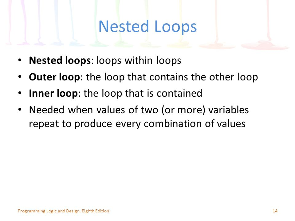 Nested Loops 14Programming Logic and Design, Eighth Edition Nested loops: loops within loops Outer loop: the loop that contains the other loop Inner loop: the loop that is contained Needed when values of two (or more) variables repeat to produce every combination of values