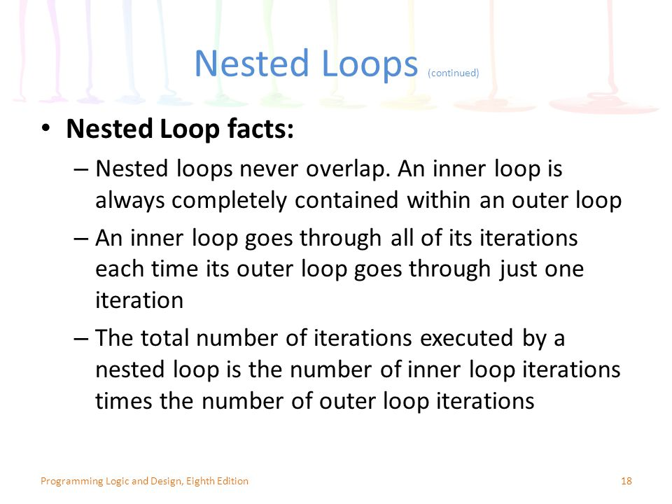 Nested Loops (continued) Nested Loop facts: – Nested loops never overlap.