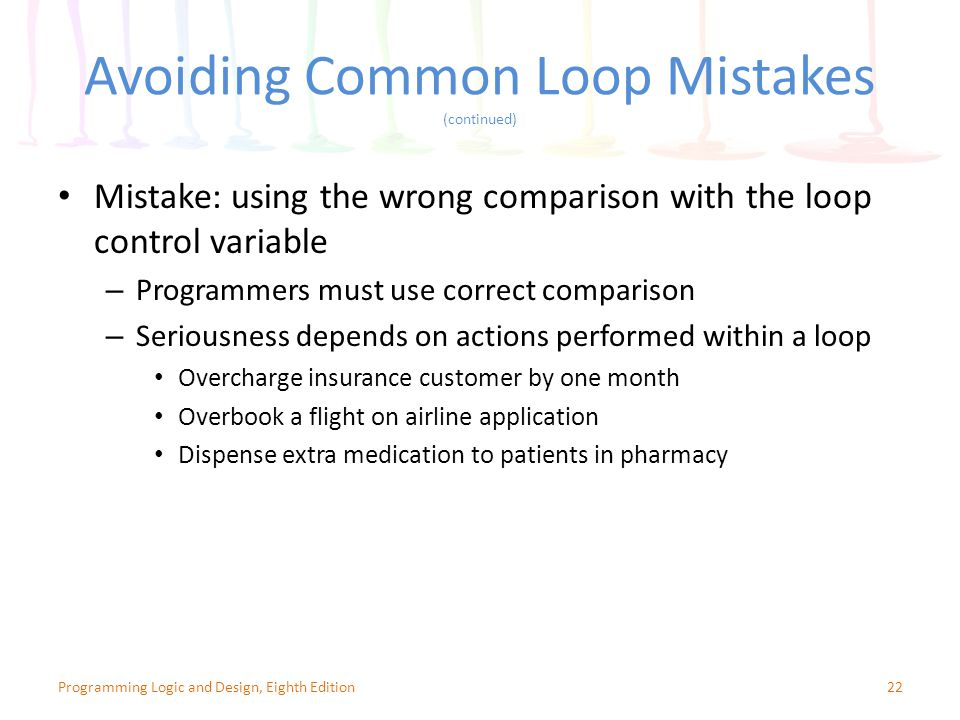 Avoiding Common Loop Mistakes (continued) 22Programming Logic and Design, Eighth Edition Mistake: using the wrong comparison with the loop control variable – Programmers must use correct comparison – Seriousness depends on actions performed within a loop Overcharge insurance customer by one month Overbook a flight on airline application Dispense extra medication to patients in pharmacy