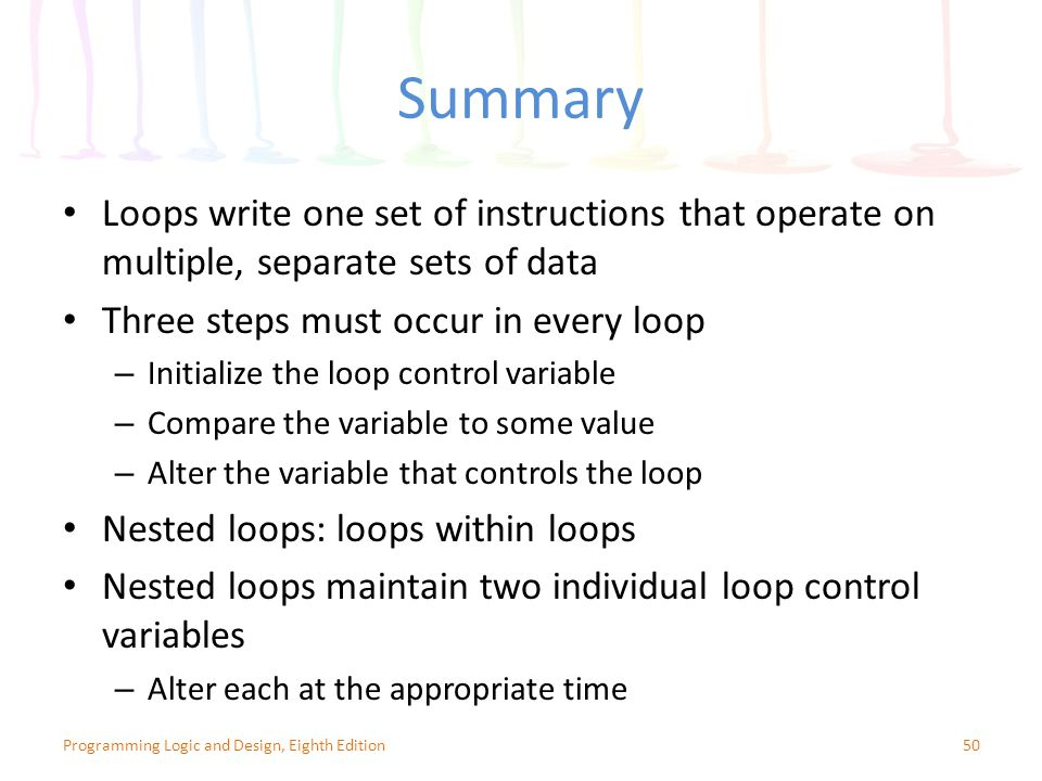 Summary 50Programming Logic and Design, Eighth Edition Loops write one set of instructions that operate on multiple, separate sets of data Three steps must occur in every loop – Initialize the loop control variable – Compare the variable to some value – Alter the variable that controls the loop Nested loops: loops within loops Nested loops maintain two individual loop control variables – Alter each at the appropriate time