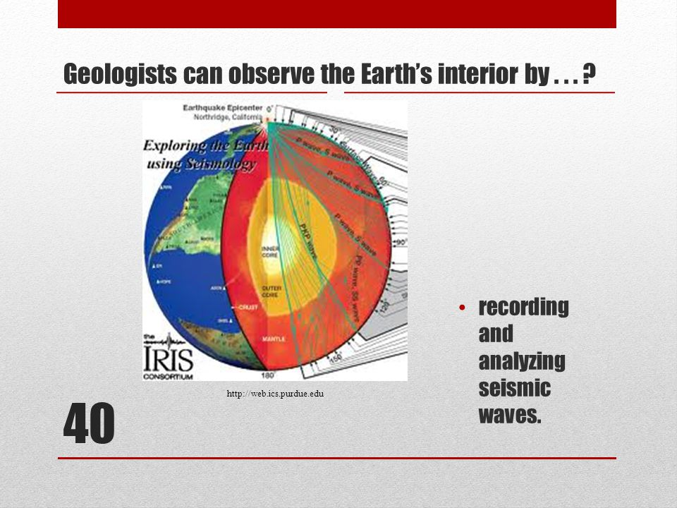 40 Geologists can observe the Earth's interior by...