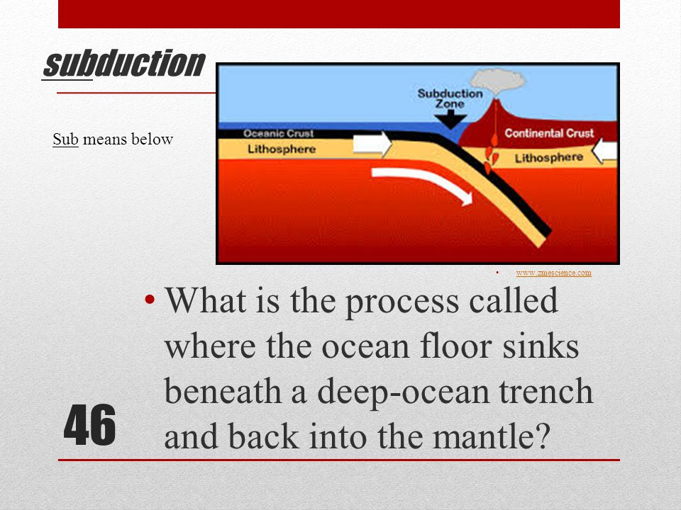 46 subduction What is the process called where the ocean floor sinks beneath a deep-ocean trench and back into the mantle.