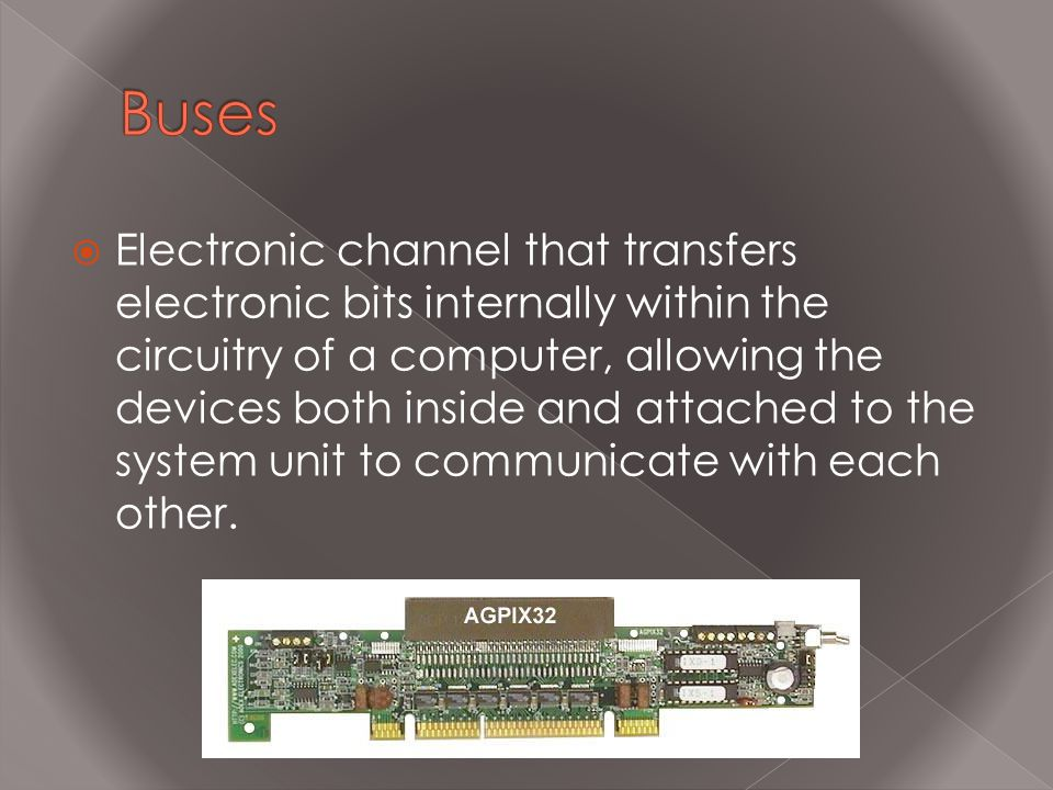  Electronic channel that transfers electronic bits internally within the circuitry of a computer, allowing the devices both inside and attached to th