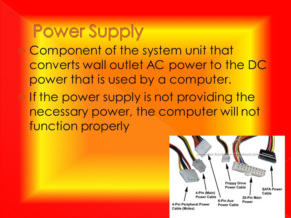 Component of the system unit that converts wall outlet AC power to the DC power that is used by a computer.  If the power supply is not providing t