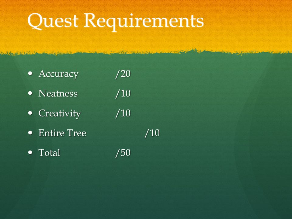 Quest Requirements Accuracy/20 Accuracy/20 Neatness/10 Neatness/10 Creativity/10 Creativity/10 Entire Tree/10 Entire Tree/10 Total/50 Total/50