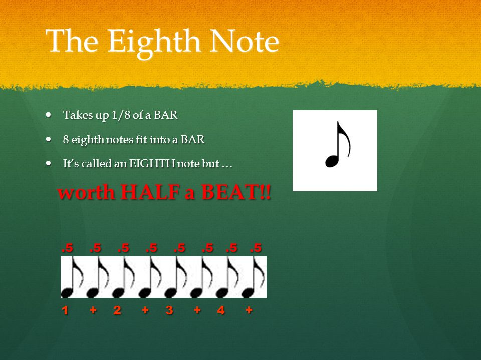 The Eighth Note Takes up 1/8 of a BAR Takes up 1/8 of a BAR 8 eighth notes fit into a BAR 8 eighth notes fit into a BAR It's called an EIGHTH note but … It's called an EIGHTH note but … worth HALF a BEAT!.