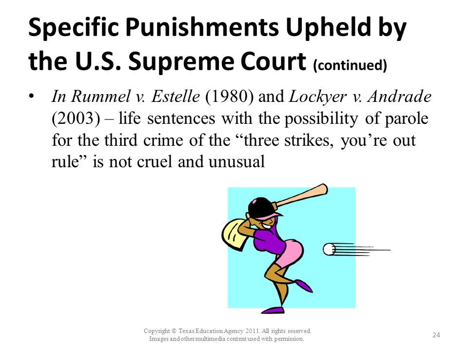 Copyright © Texas Education Agency 2011. All rights reserved. Images and other multimedia content used with permission. Specific Punishments Upheld by