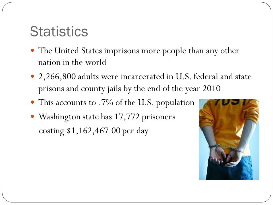 Statistics The United States imprisons more people than any other nation in the world 2,266,800 adults were incarcerated in U.S.