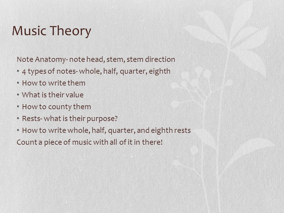Music Theory Note Anatomy- note head, stem, stem direction 4 types of notes- whole, half, quarter, eighth How to write them What is their value How to county them Rests- what is their purpose.