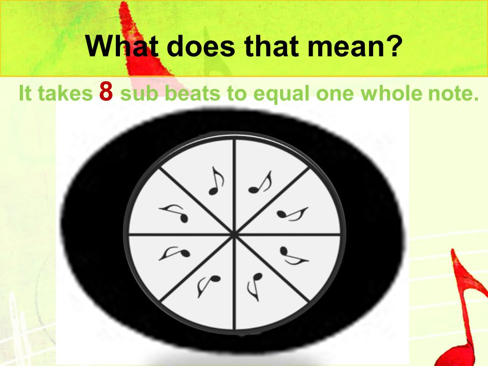 What does that mean It takes 8 sub beats to equal one whole note.