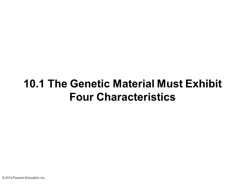 10.1 The Genetic Material Must Exhibit Four Characteristics