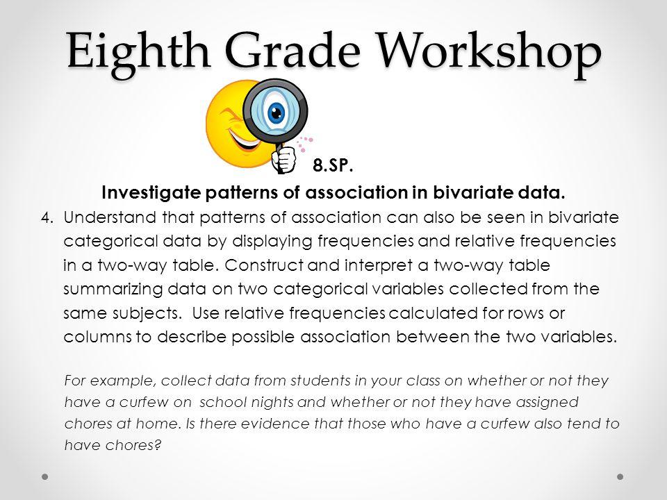 Eighth Grade Workshop 8.SP. Investigate patterns of association in bivariate data. 4. Understand that patterns of association can also be seen in biva