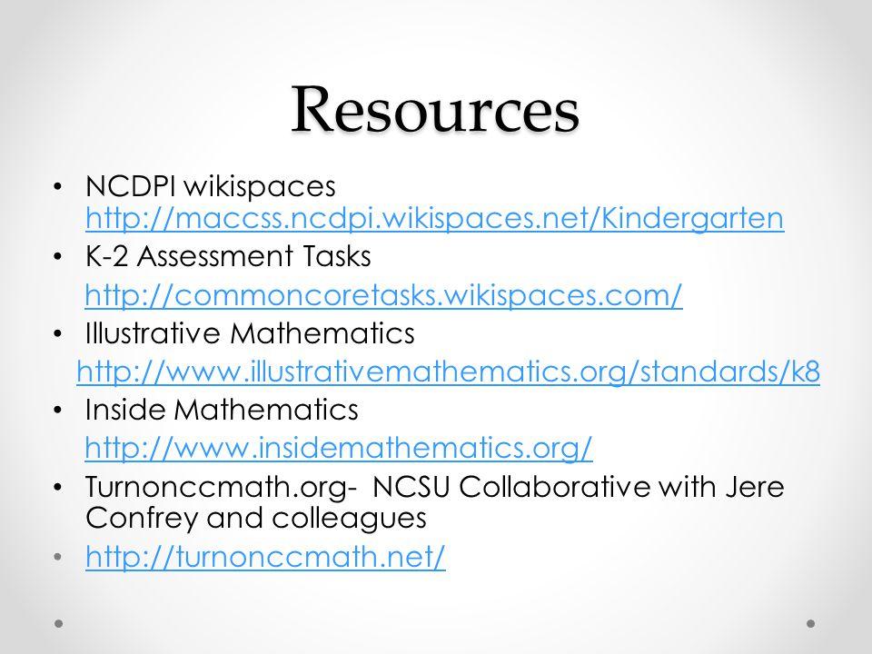 Resources NCDPI wikispaces http://maccss.ncdpi.wikispaces.net/Kindergarten http://maccss.ncdpi.wikispaces.net/Kindergarten K-2 Assessment Tasks http:/