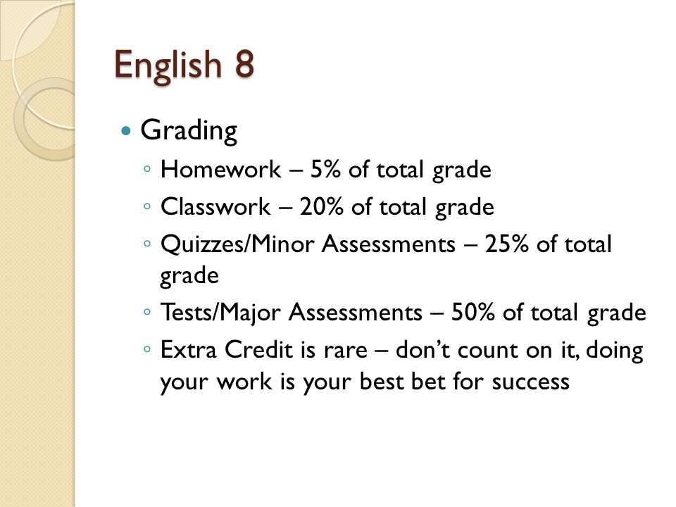 English 8 Grading ◦ Homework – 5% of total grade ◦ Classwork – 20% of total grade ◦ Quizzes/Minor Assessments – 25% of total grade ◦ Tests/Major Assessments – 50% of total grade ◦ Extra Credit is rare – don't count on it, doing your work is your best bet for success