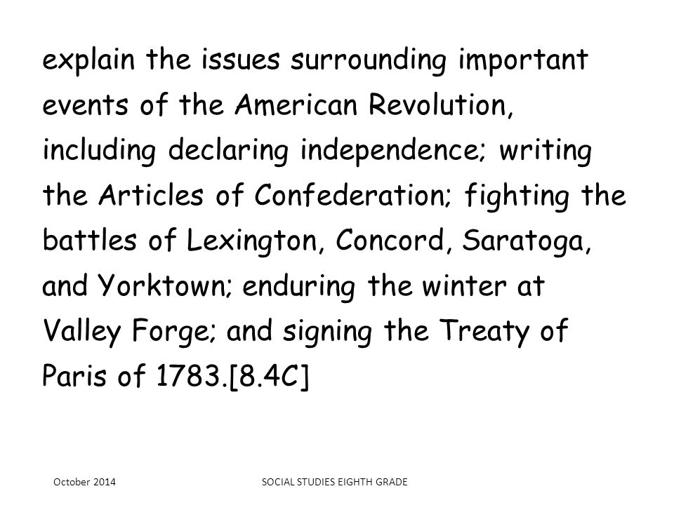 analyze the issues of the Constitutional Convention of 1787, including the Great Compromise and the Three- Fifths Compromise.[8.4D] October 2014SOCIAL STUDIES EIGHTH GRADE