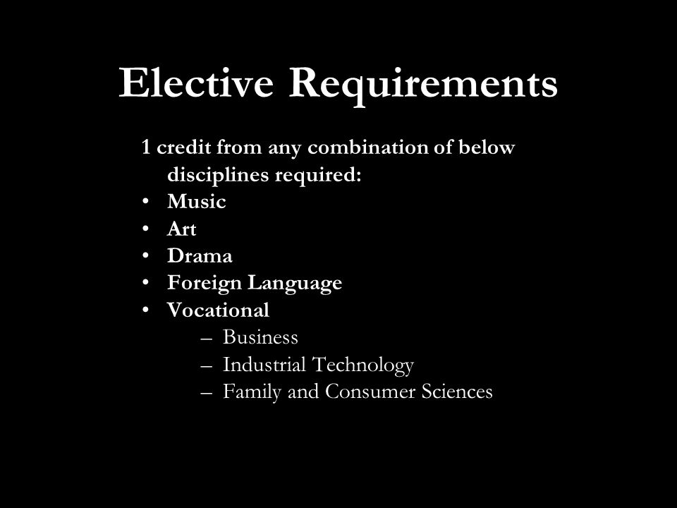Elective Requirements 1 credit from any combination of below disciplines required: Music Art Drama Foreign Language Vocational –Business –Industrial Technology –Family and Consumer Sciences