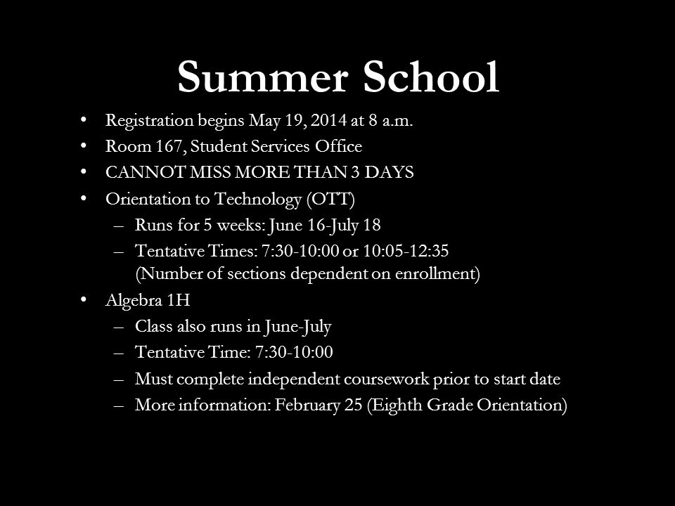 Summer School Registration begins May 19, 2014 at 8 a.m.