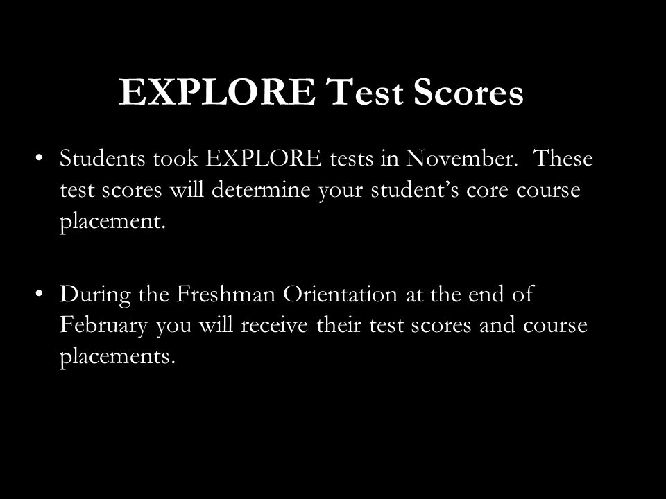 EXPLORE Test Scores Students took EXPLORE tests in November.