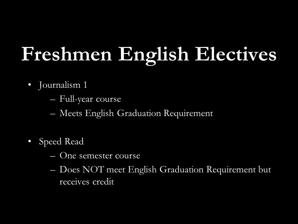 Freshmen English Electives Journalism 1 –Full-year course –Meets English Graduation Requirement Speed Read –One semester course –Does NOT meet English Graduation Requirement but receives credit