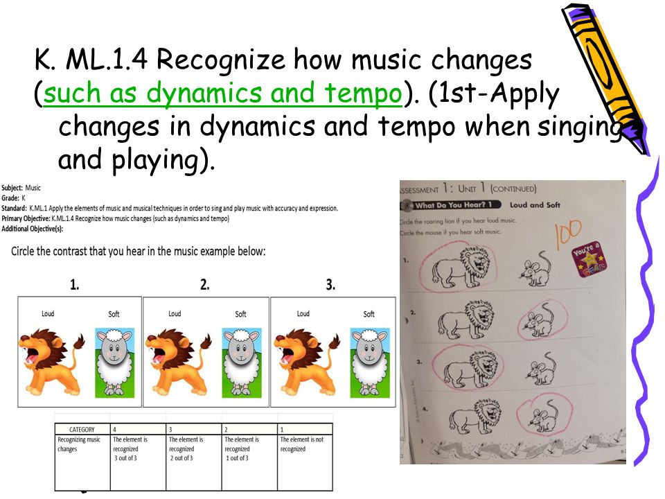 K. ML.1.4 Recognize how music changes (such as dynamics and tempo). (1st-Apply changes in dynamics and tempo when singing and playing).such as dynamic