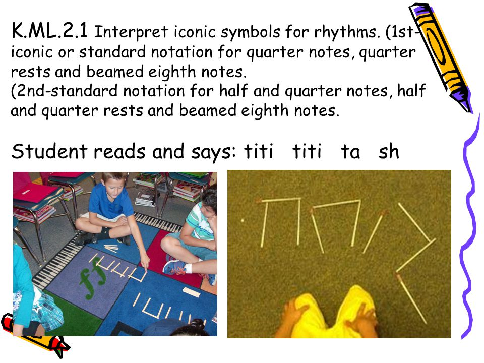 K.ML.2.1 Interpret iconic symbols for rhythms. (1st- iconic or standard notation for quarter notes, quarter rests and beamed eighth notes. (2nd-standa