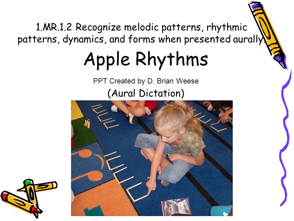 1.MR.1.2 Recognize melodic patterns, rhythmic patterns, dynamics, and forms when presented aurally. Apple Rhythms (Aural Dictation) PPT Created by D.