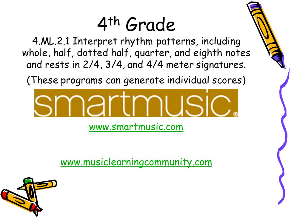 4 th Grade 4.ML.2.1 Interpret rhythm patterns, including whole, half, dotted half, quarter, and eighth notes and rests in 2/4, 3/4, and 4/4 meter sign