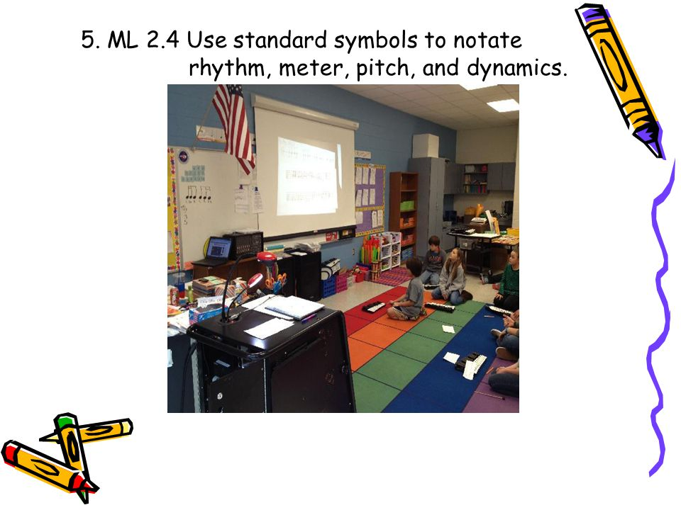 5. ML 2.4 Use standard symbols to notate rhythm, meter, pitch, and dynamics.