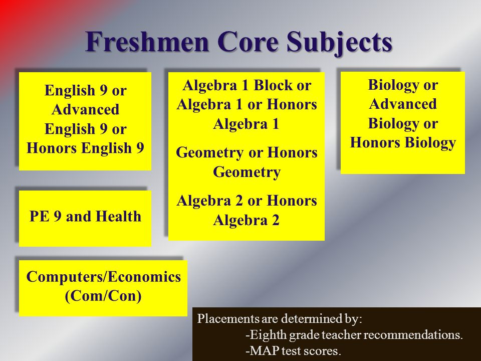 Freshmen Core Subjects Algebra 1 Block or Algebra 1 or Honors Algebra 1 Geometry or Honors Geometry Algebra 2 or Honors Algebra 2 Algebra 1 Block or A