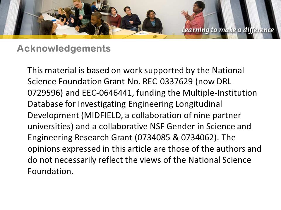 Acknowledgements This material is based on work supported by the National Science Foundation Grant No.