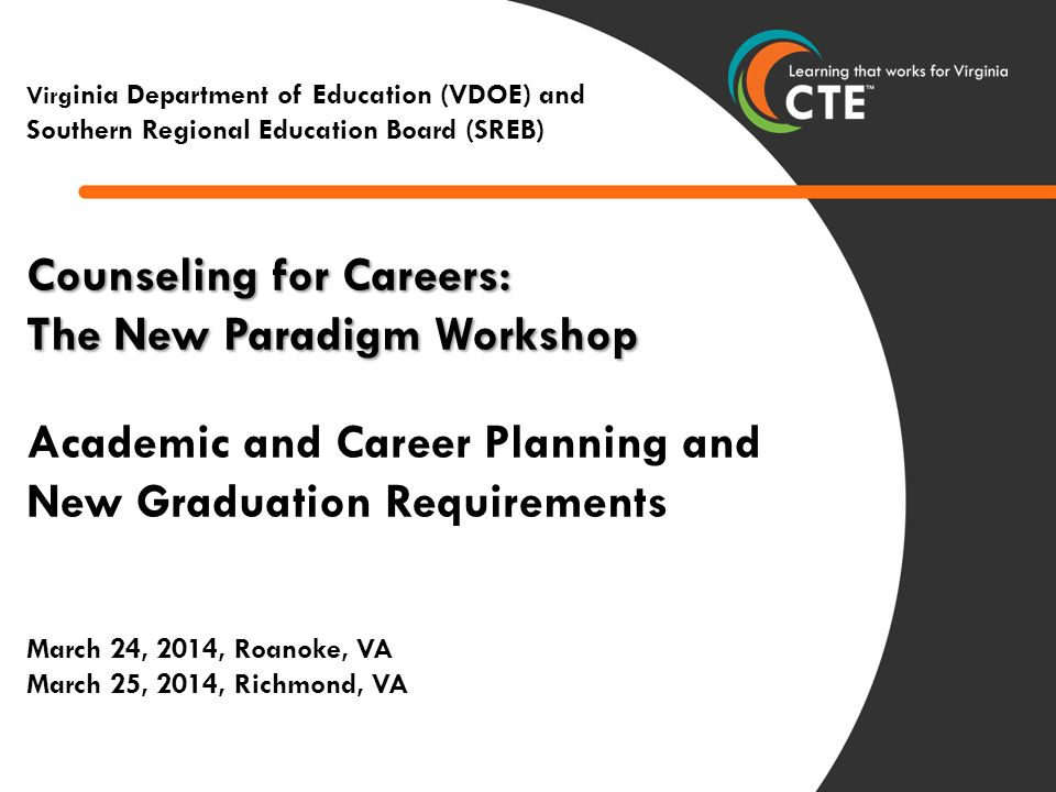 1 0 Counseling for Careers: The New Paradigm Workshop Academic and Career Planning and New Graduation Requirements March 24, 2014, Roanoke, VA March 25, 2014, Richmond, VA March 13, 2014 Virg inia Department of Education (VDOE) and Southern Regional Education Board (SREB)