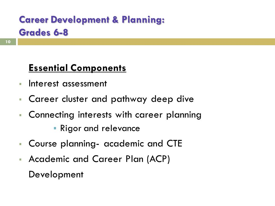 Career Development & Planning: Grades 6-8 10 Essential Components  Interest assessment  Career cluster and pathway deep dive  Connecting interests with career planning  Rigor and relevance  Course planning- academic and CTE  Academic and Career Plan (ACP) Development
