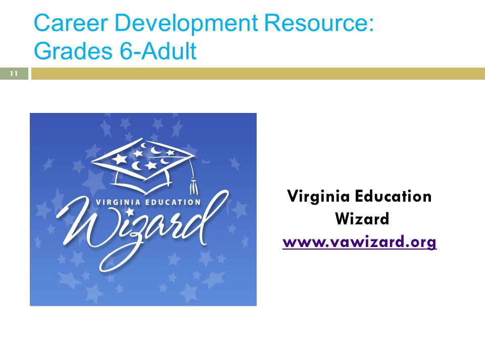 Career Development Resource: Grades 6-Adult Virginia Education Wizard www.vawizard.org 11