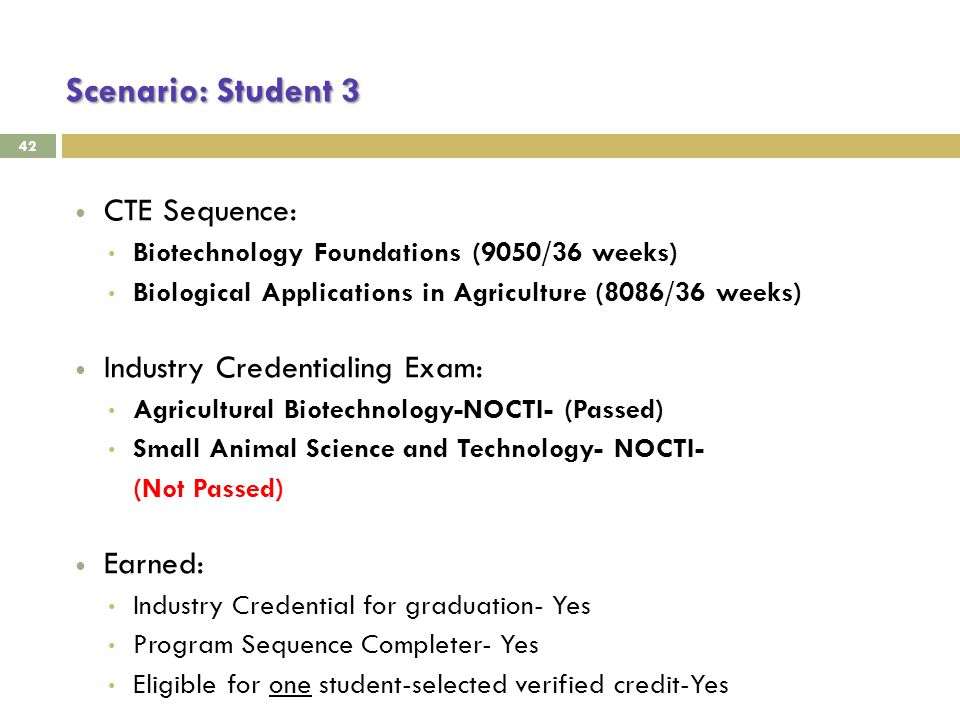 Scenario: Student 3 42 CTE Sequence: Biotechnology Foundations (9050/36 weeks) Biological Applications in Agriculture (8086/36 weeks) Industry Credentialing Exam: Agricultural Biotechnology-NOCTI- (Passed) Small Animal Science and Technology- NOCTI- (Not Passed) Earned: Industry Credential for graduation- Yes Program Sequence Completer- Yes Eligible for one student-selected verified credit-Yes