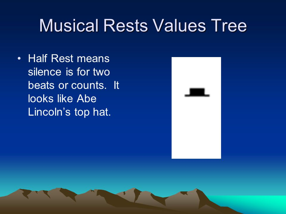Musical Rests Values Tree Half Rest means silence is for two beats or counts.