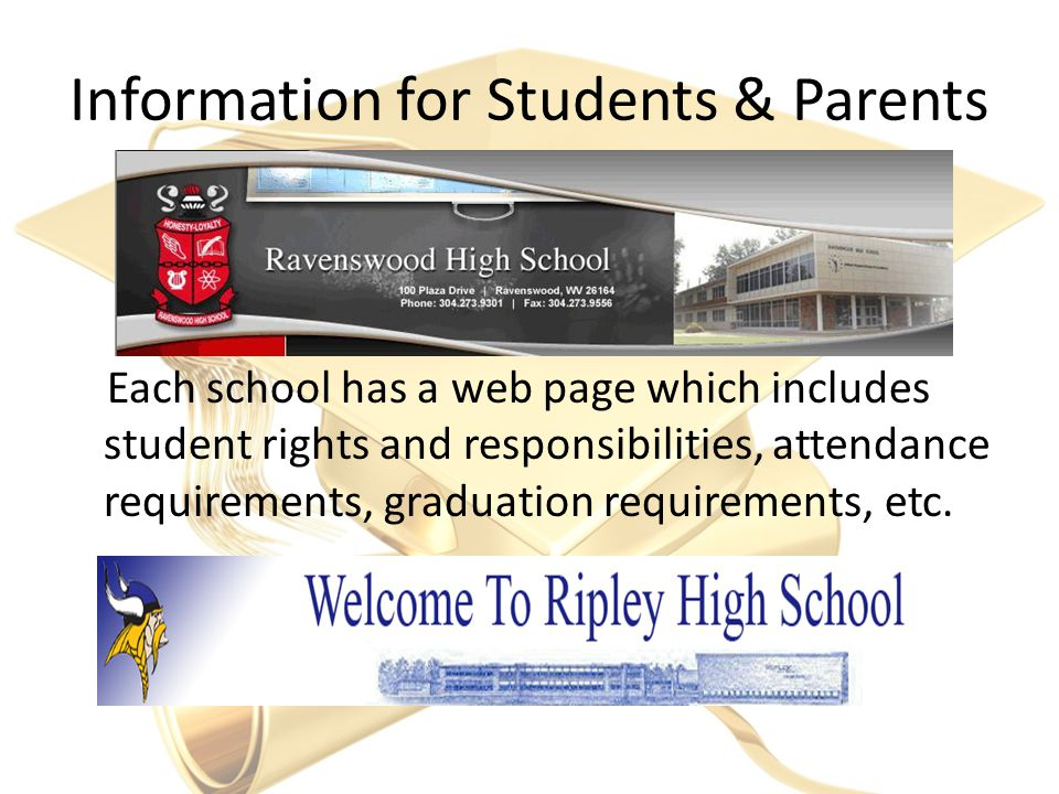 Information for Students & Parents Each school has a web page which includes student rights and responsibilities, attendance requirements, graduation requirements, etc.