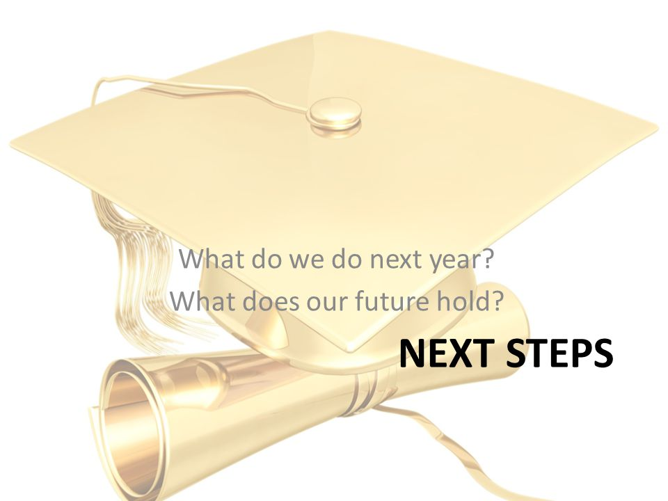 NEXT STEPS What do we do next year What does our future hold