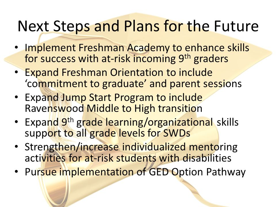 Next Steps and Plans for the Future Implement Freshman Academy to enhance skills for success with at-risk incoming 9 th graders Expand Freshman Orientation to include 'commitment to graduate' and parent sessions Expand Jump Start Program to include Ravenswood Middle to High transition Expand 9 th grade learning/organizational skills support to all grade levels for SWDs Strengthen/increase individualized mentoring activities for at-risk students with disabilities Pursue implementation of GED Option Pathway
