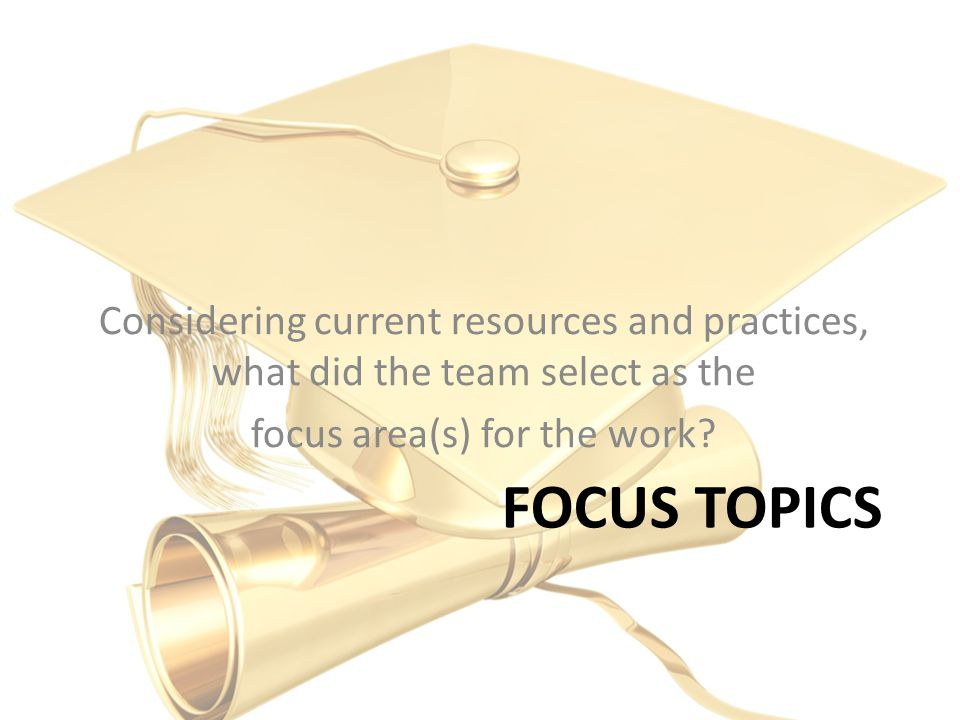 FOCUS TOPICS Considering current resources and practices, what did the team select as the focus area(s) for the work