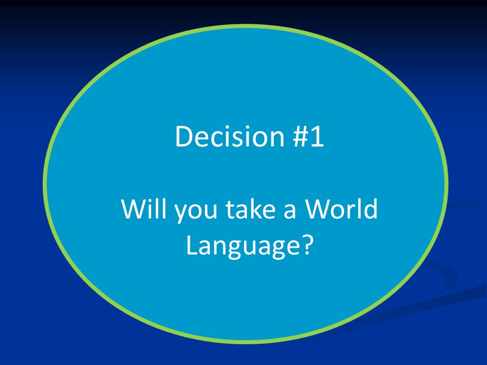 Decision #1 Will you take a World Language