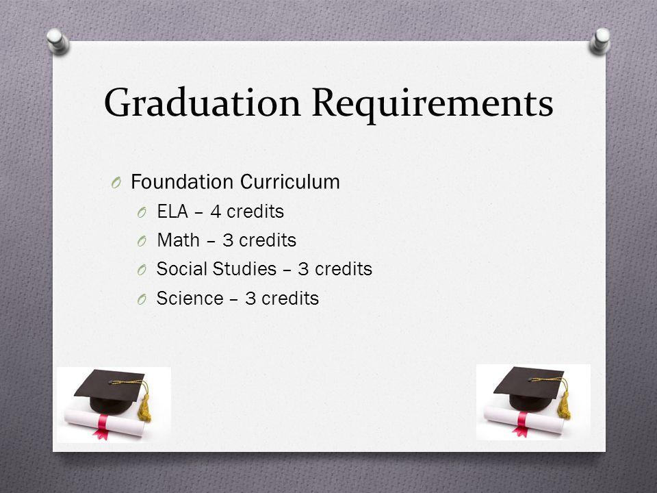 Graduation Requirements O Foundation Curriculum O ELA – 4 credits O Math – 3 credits O Social Studies – 3 credits O Science – 3 credits