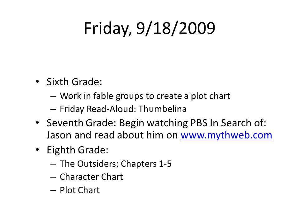 Friday, 9/18/2009 Sixth Grade: – Work in fable groups to create a plot chart – Friday Read-Aloud: Thumbelina Seventh Grade: Begin watching PBS In Search of: Jason and read about him on www.mythweb.comwww.mythweb.com Eighth Grade: – The Outsiders; Chapters 1-5 – Character Chart – Plot Chart