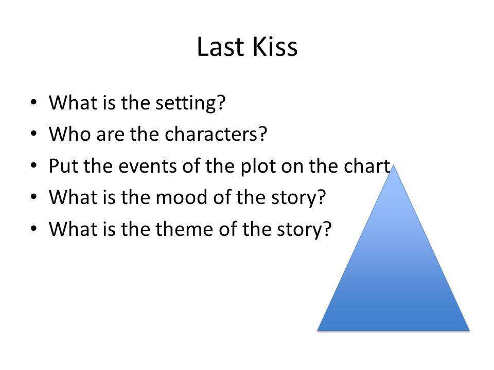 Last Kiss What is the setting. Who are the characters.
