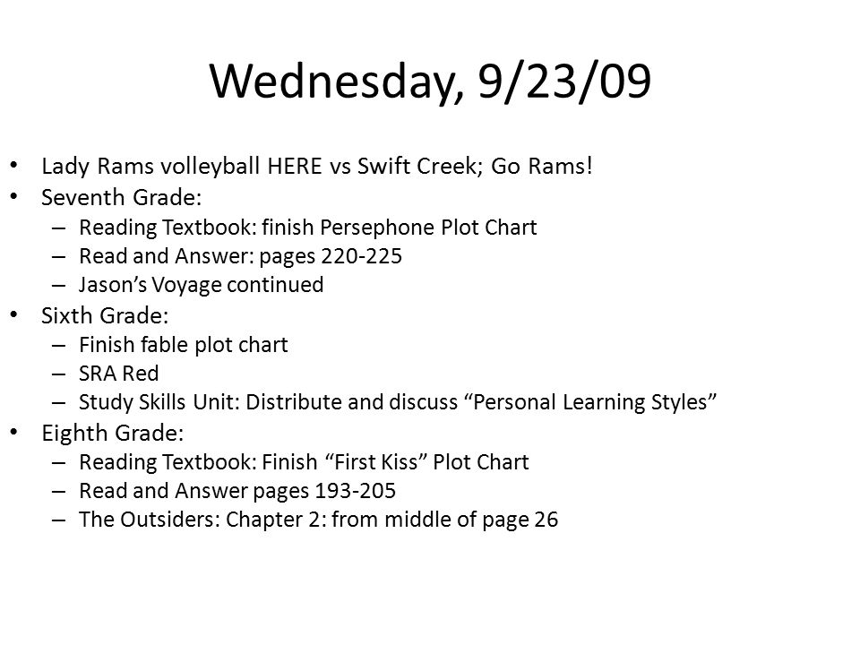 Wednesday, 9/23/09 Lady Rams volleyball HERE vs Swift Creek; Go Rams.