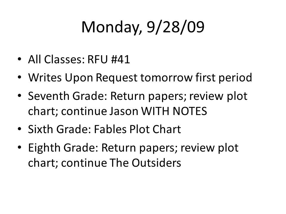 Monday, 9/28/09 All Classes: RFU #41 Writes Upon Request tomorrow first period Seventh Grade: Return papers; review plot chart; continue Jason WITH NOTES Sixth Grade: Fables Plot Chart Eighth Grade: Return papers; review plot chart; continue The Outsiders