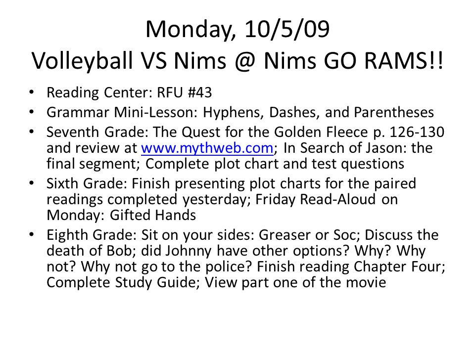Monday, 10/5/09 Volleyball VS Nims @ Nims GO RAMS!.